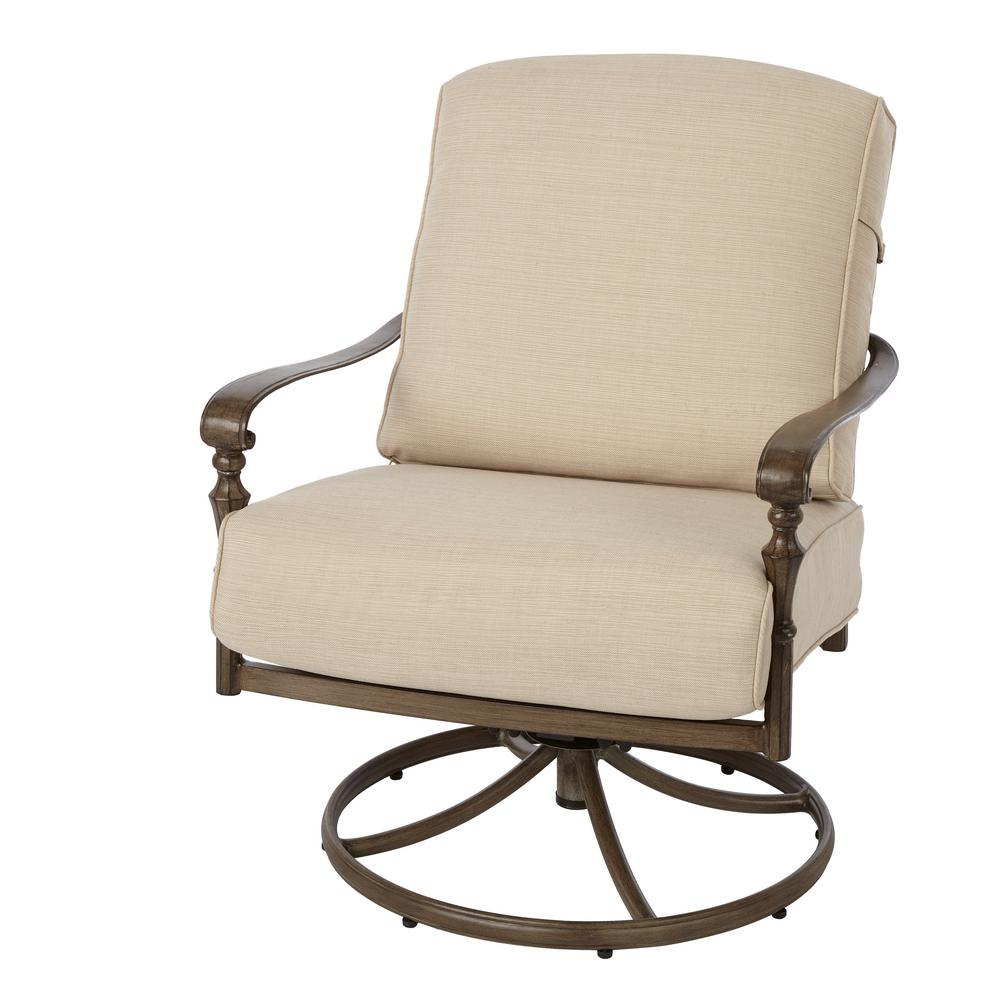 Hampton Bay Cavasso Swivel Rocking Metal Outdoor Lounge Chair With Oatmeal  Cushion
