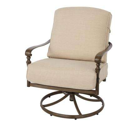 Cavasso Swivel Rocking Metal Outdoor Lounge Chair with Oatmeal Cushion