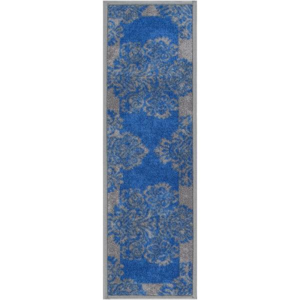 Kings Court Greek Key Blue Modern Damask Rubber Back Non-Skid 9 in. x 31 in. Stair Tread Cover (Set of 7)