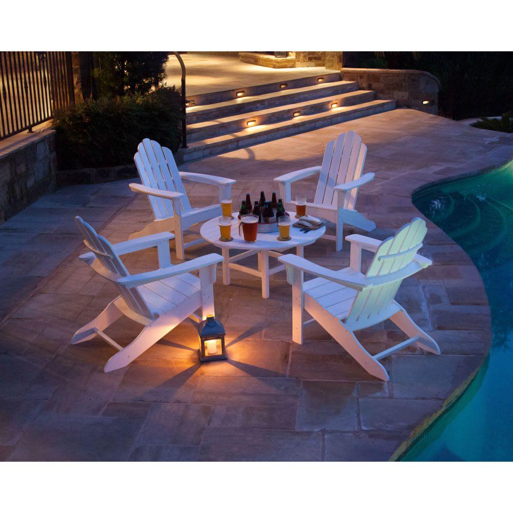 White All-Weather 5-Piece Patio Adirondack Chat Group