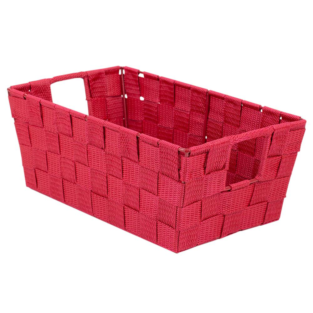 Home Basics 6.5 in. x 4.5 in. Red Polyester Woven Strap Open Bin