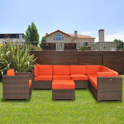Marseille 8-Piece Patio Sectional Seating Set with Orange Cushions