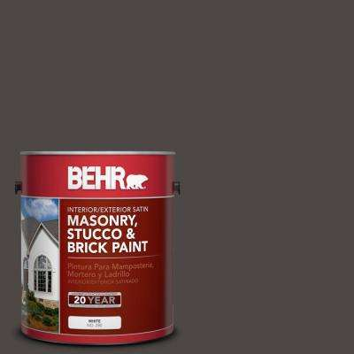 1 gal. #N530-7 Private Black Satin Interior/Exterior Masonry, Stucco and Brick Paint