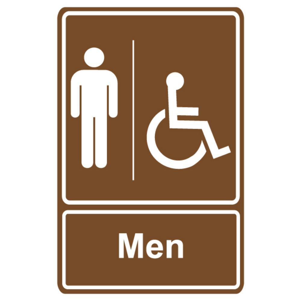 5.5 in. x 6.5 in. Plastic Brown Men Wheelchair Restroom Sign