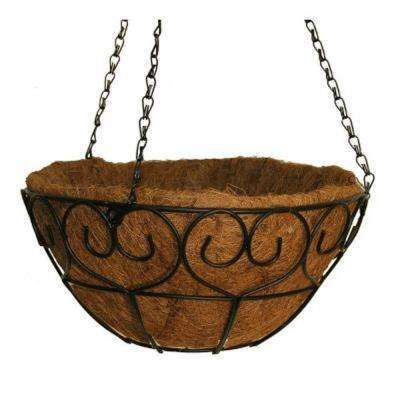 14 in. Metal Heart-Scroll Hanging Coco Basket