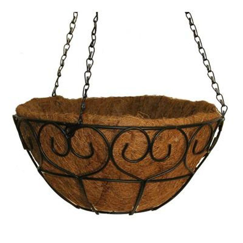 14 in. Metal Heart-Scroll Hanging Basket