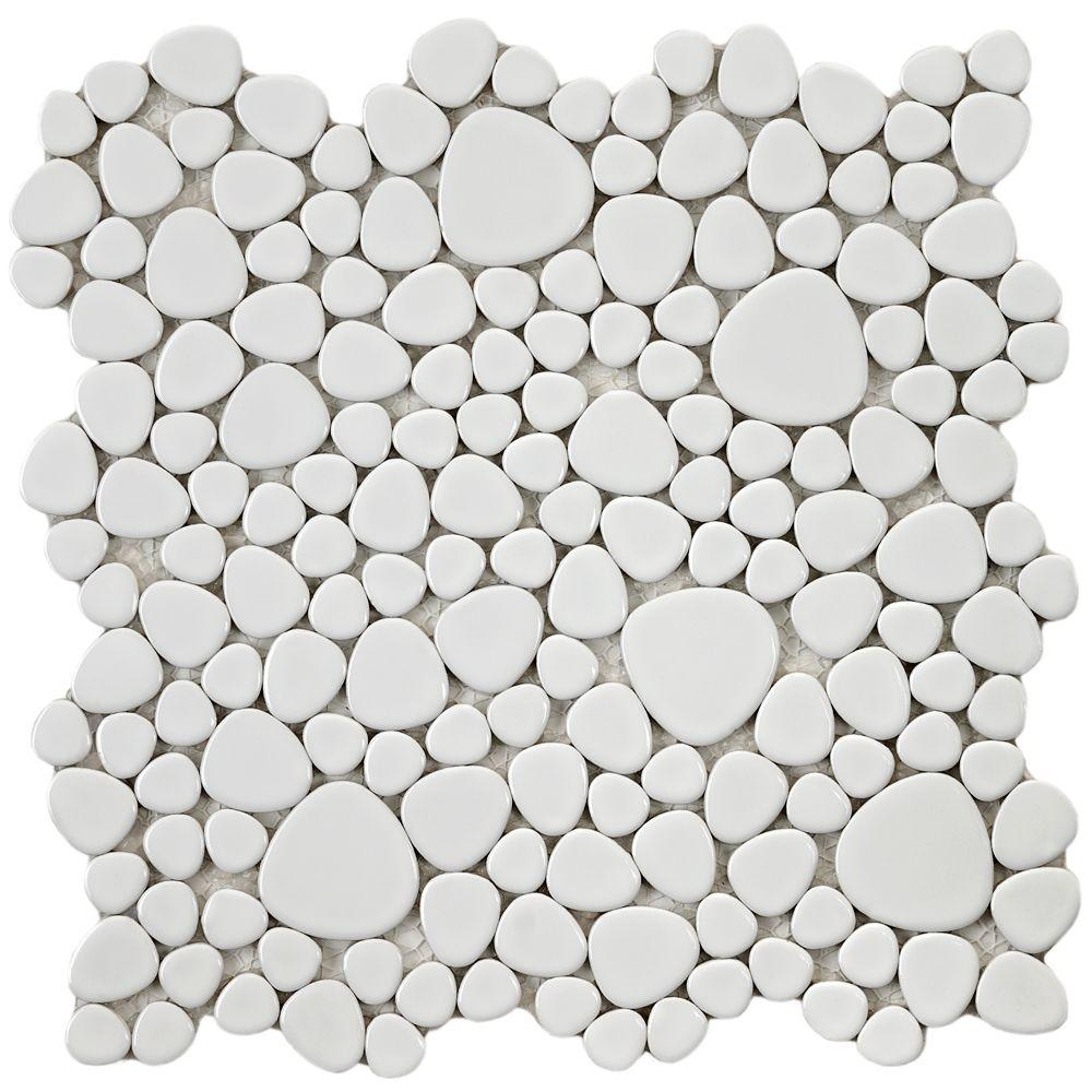 Merola Tile Pebble White 11 In X 6 Mm Porcelain Mosaic