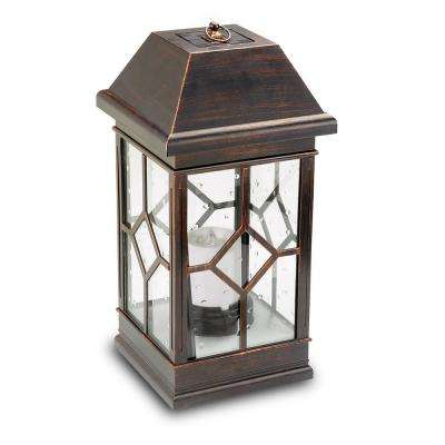 San Felipe Estate 22 in. 2-Light Bronze Integrated LED Solar Candle Lantern