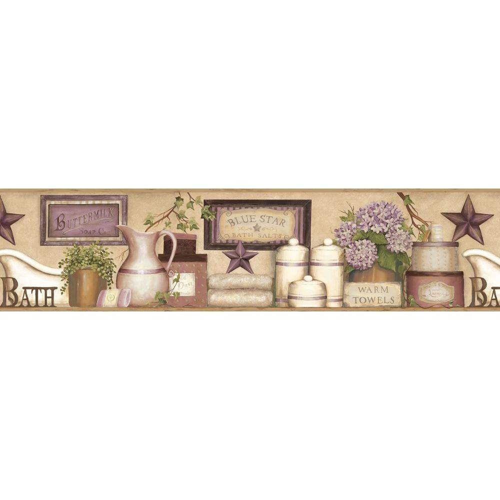 Strange Martha Violet Country Bath Wallpaper Border Sample Interior Design Ideas Gentotryabchikinfo