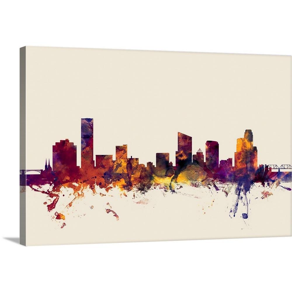 Premium Thick-Wrap Canvas Wall Art entitled Detroit Michigan Skyline