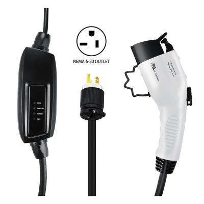 240-Volt 16 Amp Level 2 EV Charger with 21 ft. (6.4 m) Extension Cord J1772 Cable and NEMA 6-20 Plug