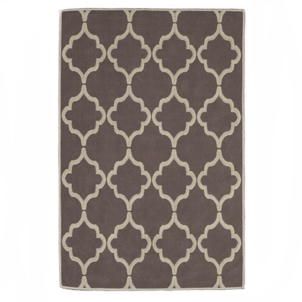 Ottomanson nature cotton kilim collection brown trellis design 5 ft x 7 ft area rug k10028 5x7 - Ways decorating using kilim print ...