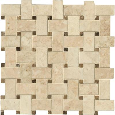 Crema Cappuccino Basket Weave 12 in. x 12 in. x 10mm Polished Marble Mesh-Mounted Mosaic Tile (10 sq. ft./Case)
