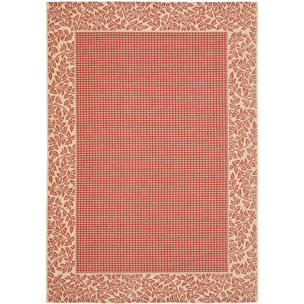 Courtyard Red/Natural 9 ft. x 12 ft. Indoor/Outdoor Area Rug