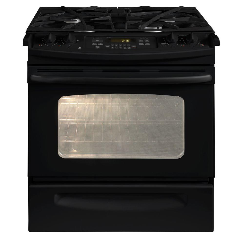 GE 4.1 cu. ft. Slide-In Gas Range with Self-Cleaning Oven in Black