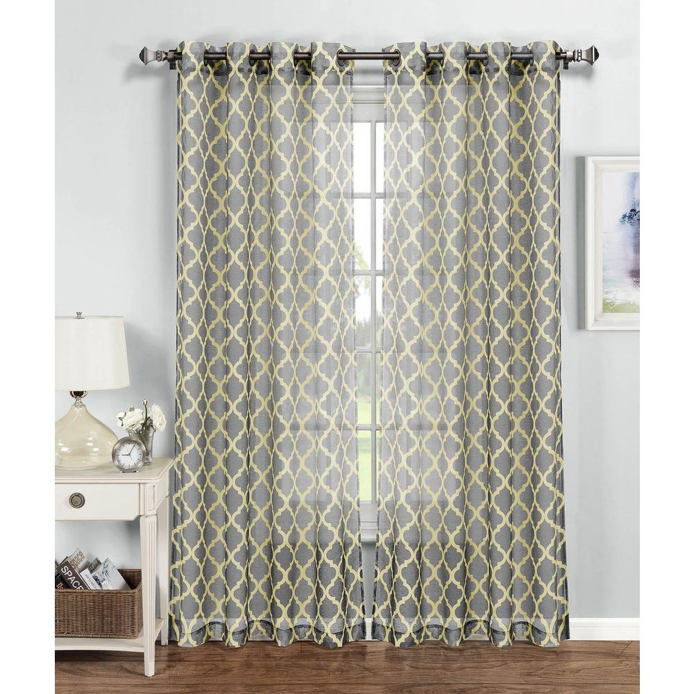 Sheer Quatrafoil Printed Extra Wide 54 In W X 96 L Grommet Curtain Panel Yellow Gray