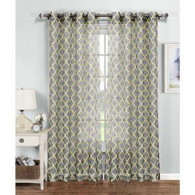 Quatrafoil Printed Sheer Extra Wide Grommet Curtain Panel - 54 in. W x 84 in. L