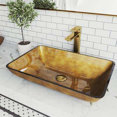 Copper Glass Vessel Bathroom Sink in Copper with Norfolk Faucet in Matte Gold