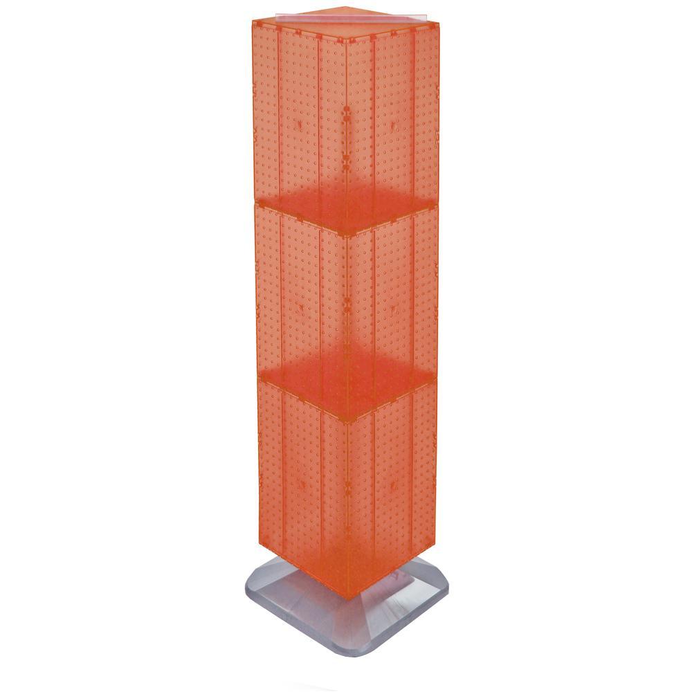 64 in. H x 14 in. W Styrene Pegboard Tower Floor Display on Revolving Base in Orange