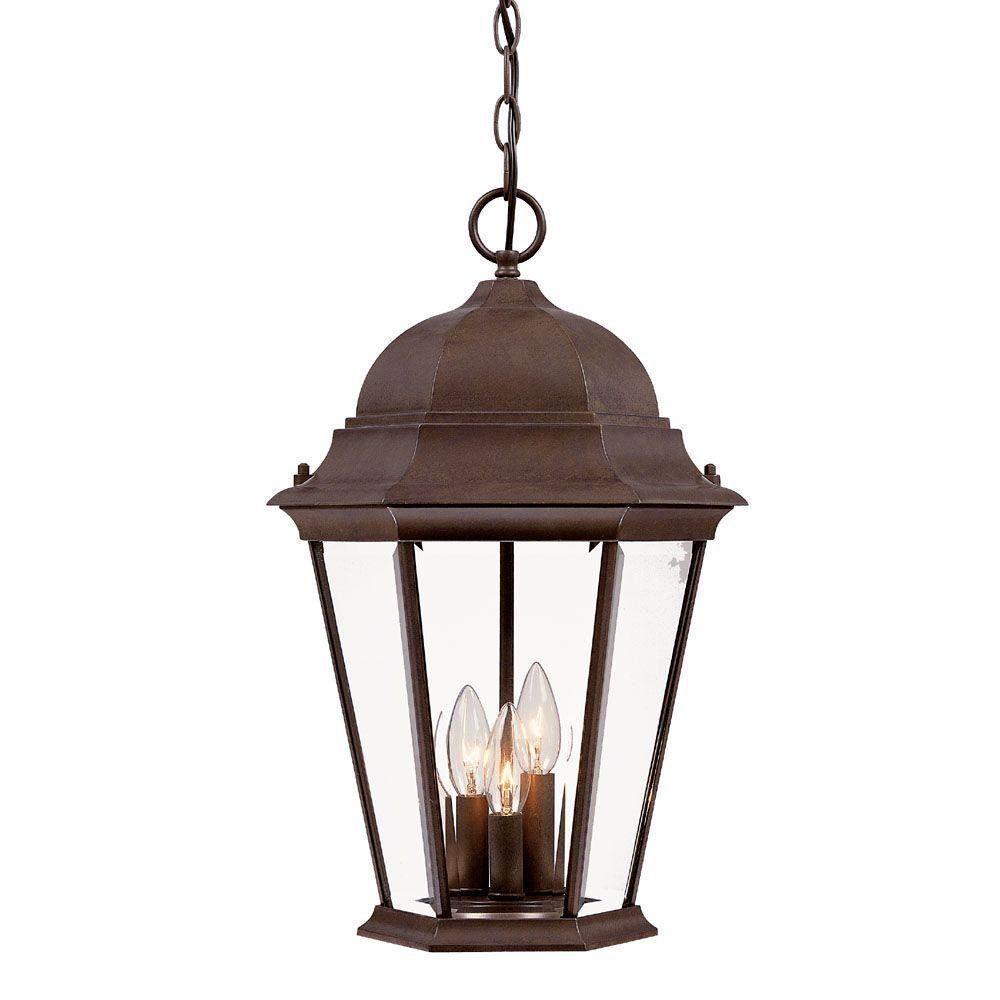 Richmond Collection 3-Light Burled Walnut Outdoor Hanging Lantern