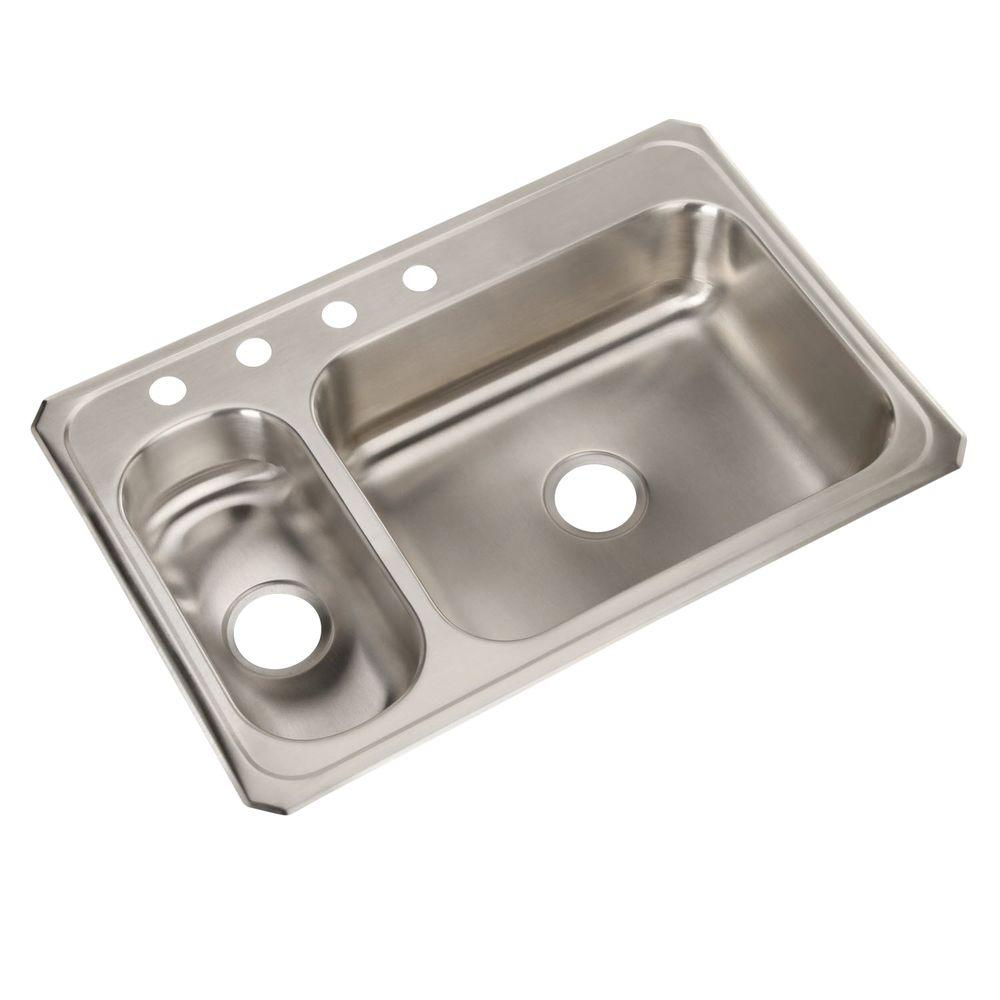 Elkay Celebrity Drop In Stainless Steel 33 In. 4 Hole Double Bowl Kitchen  Sink CMR33224   The Home Depot
