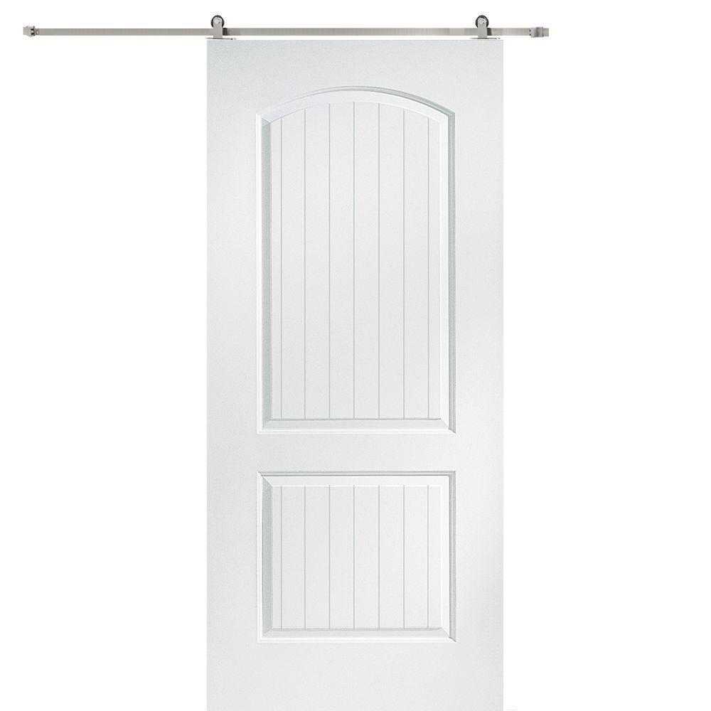 Milliken Millwork 36 in. x 80 in. Santa Fe Smooth Composite Barn Door with Sliding Door Hardware Kit