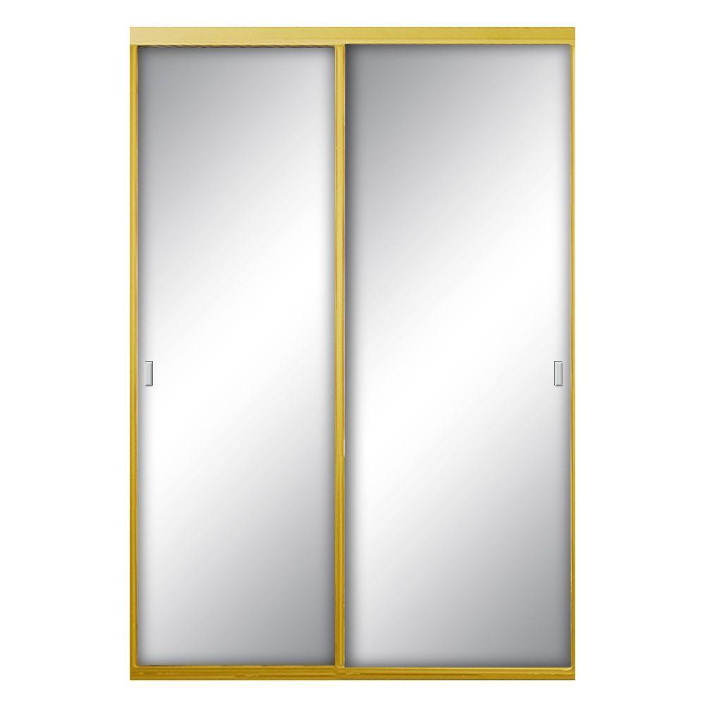 60 in. x 81 in. Asprey Bright Gold Mirror Aluminum Framed Interior Sliding Door
