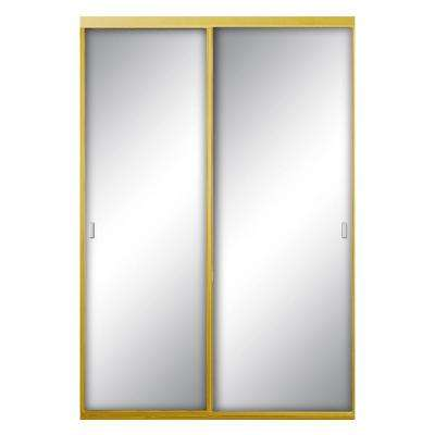 96 in. x 96 in. Asprey Bright Gold Mirror Aluminum Framed Interior Sliding Door