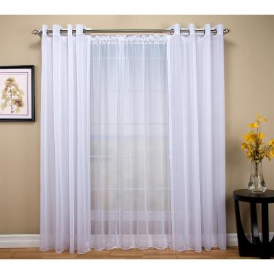 Tergaline 108 in. W x 96 in. L Double Wide Sheer Rod Pocket Window Panel in White