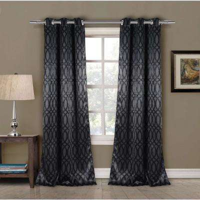 Blackout Tayla 84 in. L Blackout Grommet Panel in Black (2-Pack)