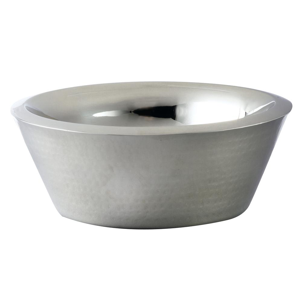 12 in. Dia Hammered Stainless Steel Double Wall Bowl