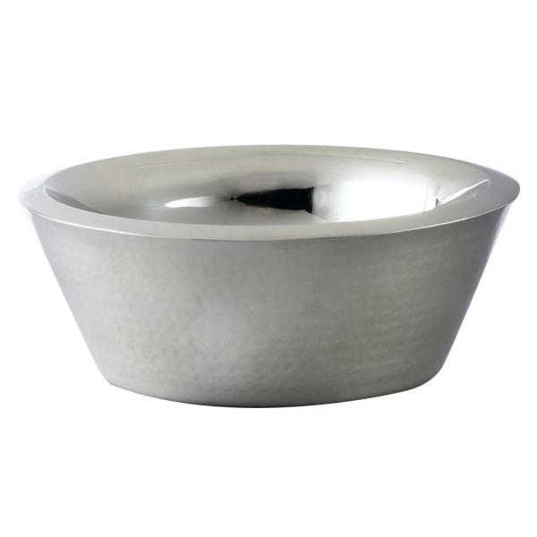 Elegance 12 in. Dia Hammered Stainless Steel Double Wall Bowl 72585