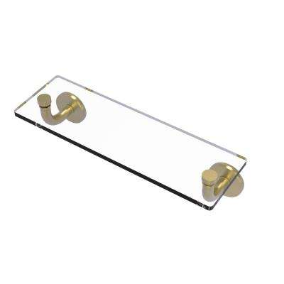 Remi Collection 16 in. Glass Vanity Shelf with Beveled Edges in Satin Brass