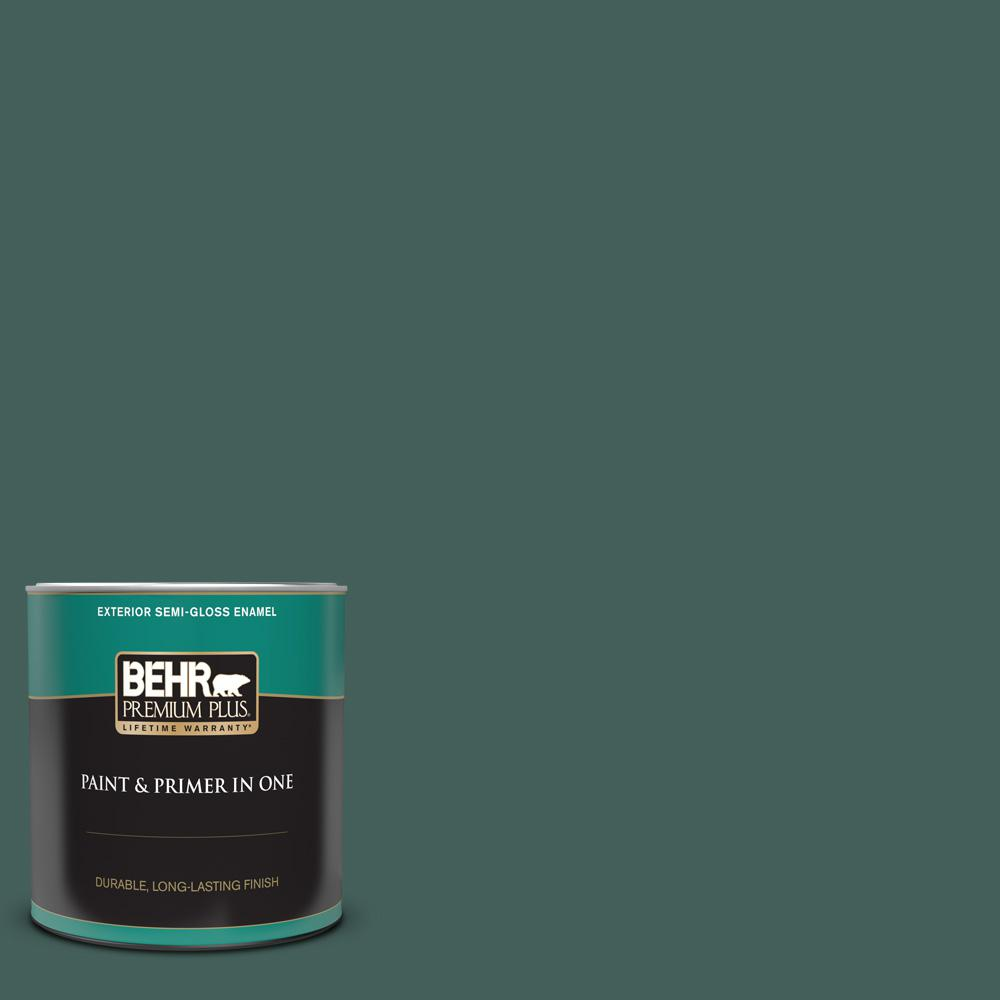 Behr Premium Plus 1 Qt Bic 54 Vert Pierre Semi Gloss Enamel Exterior Paint And Primer In One 534004 The Home Depot