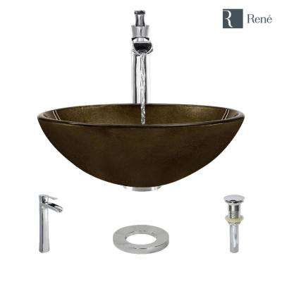 Glass Vessel Sink in Regal Bronze and Earth Tones with R9-7007 Faucet and Pop-Up Drain in Chrome