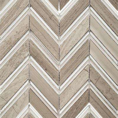 Royal Herringbone Sand Polished Marble Floor and Wall Tile - 3 in. x 6 in. Tile Sample