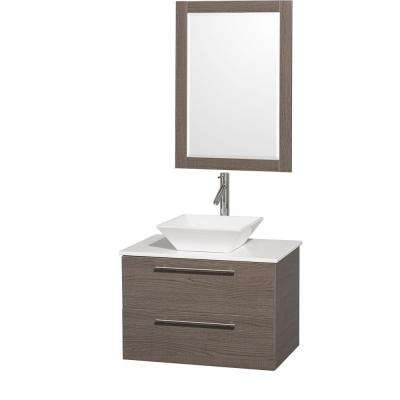 Amare 30 in. Vanity in Grey Oak with Man-Made Stone Vanity Top in White and White Porcelain Sink