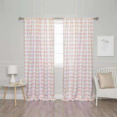 Pink 96 in. L Nordic Watercolor Check Curtain (2-Pack)