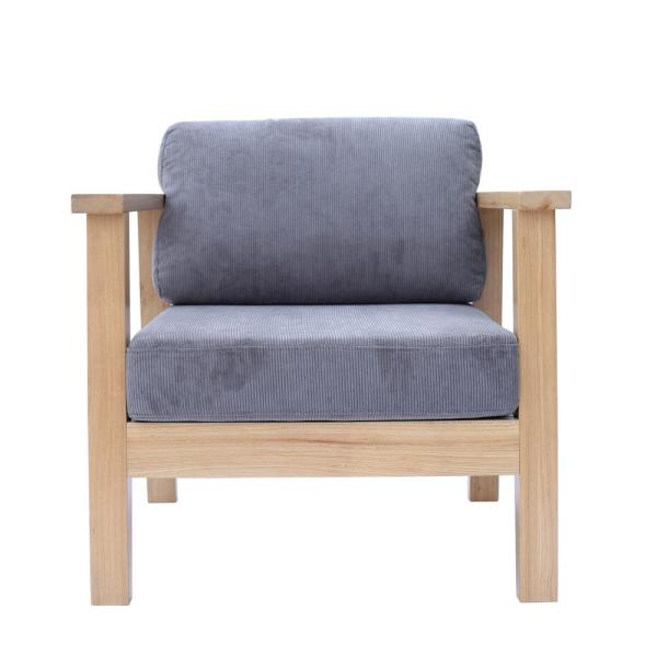 Grey Wooden Farmhouse Classic Single Arm Living Room Chair with Coduroy Upholstery and Natural Wood