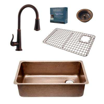 Pfister All-in-One Chef Series David 31-1/4 in. Undermount Copper Sink Combo with Ashfield Rustic Bronze Faucet
