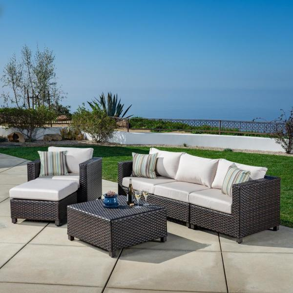 Ae Outdoor Naples 5 Piece All Weather Wicker Patio Conversation Deep Seating Set With Sunbrella Beige Cushions Dps101180 The Home Depot