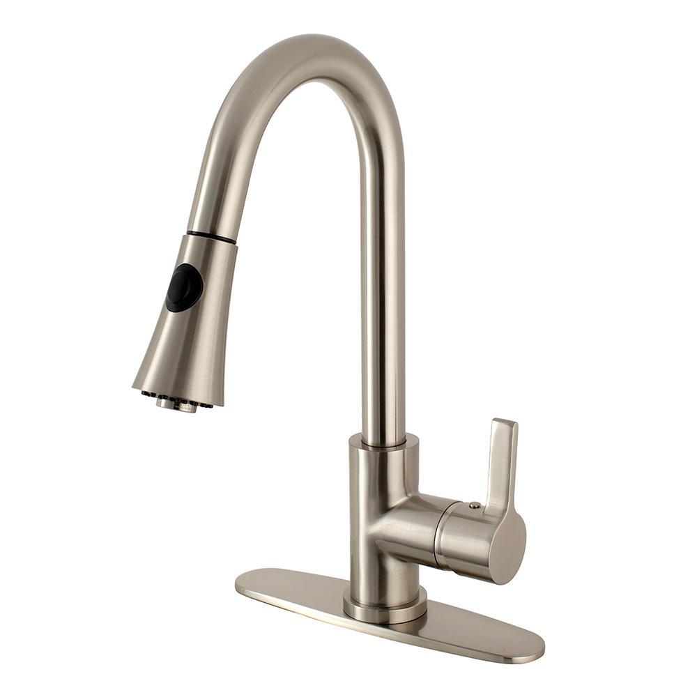 Kingston Brass Modern Single-Handle Pull-Down Sprayer Kitchen Faucet in  Brushed Nickel