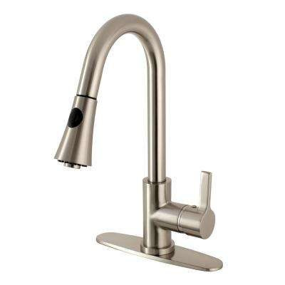 Modern Single-Handle Pull-Down Sprayer Kitchen Faucet in Satin Nickel