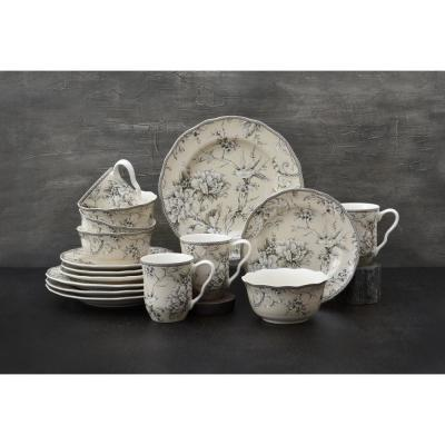 Adelaide 16-Piece Traditional Antique White Porcelain Dinnerware Set (Service for 4)