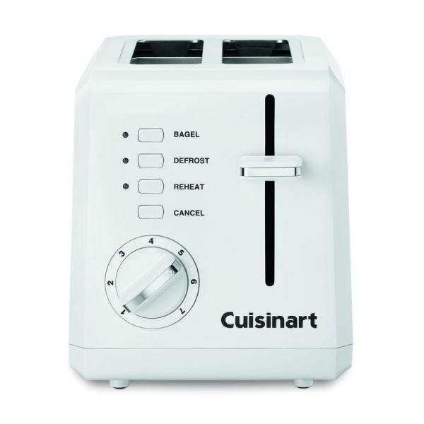 Compact 2-Slice White Wide Slot Toaster with Crumb Tray