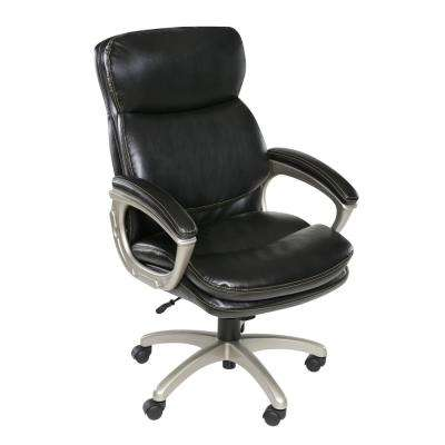 Black Coolidge Plush Executive Chair with Padded Armrests