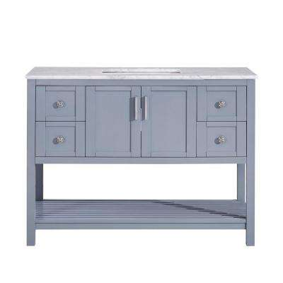 48 in. W x 22 in. D Bath Vanity in Ocean Grey with Marble Vanity Top in Carrara White with White Basin