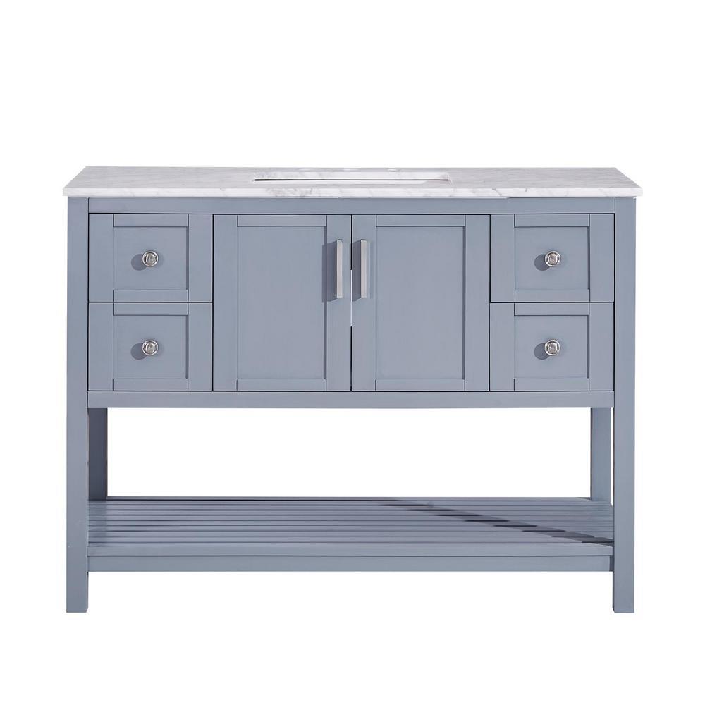 48 in. W x 22 in. D Bath Vanity in Ocean Grey with Marble Vanity Top in Carrara White with White Basin