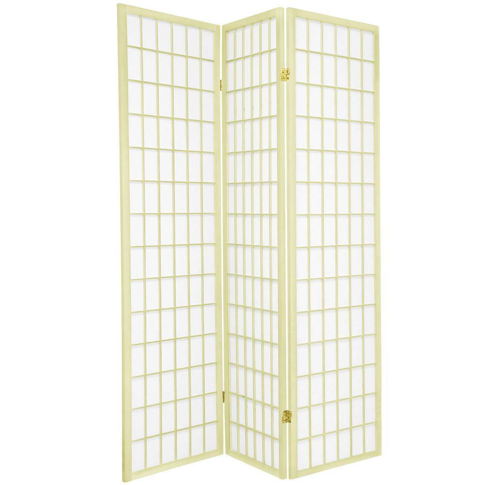 Oriental Furniture 6 Ft. Ivory Window Pane 3 Panel Room Divider