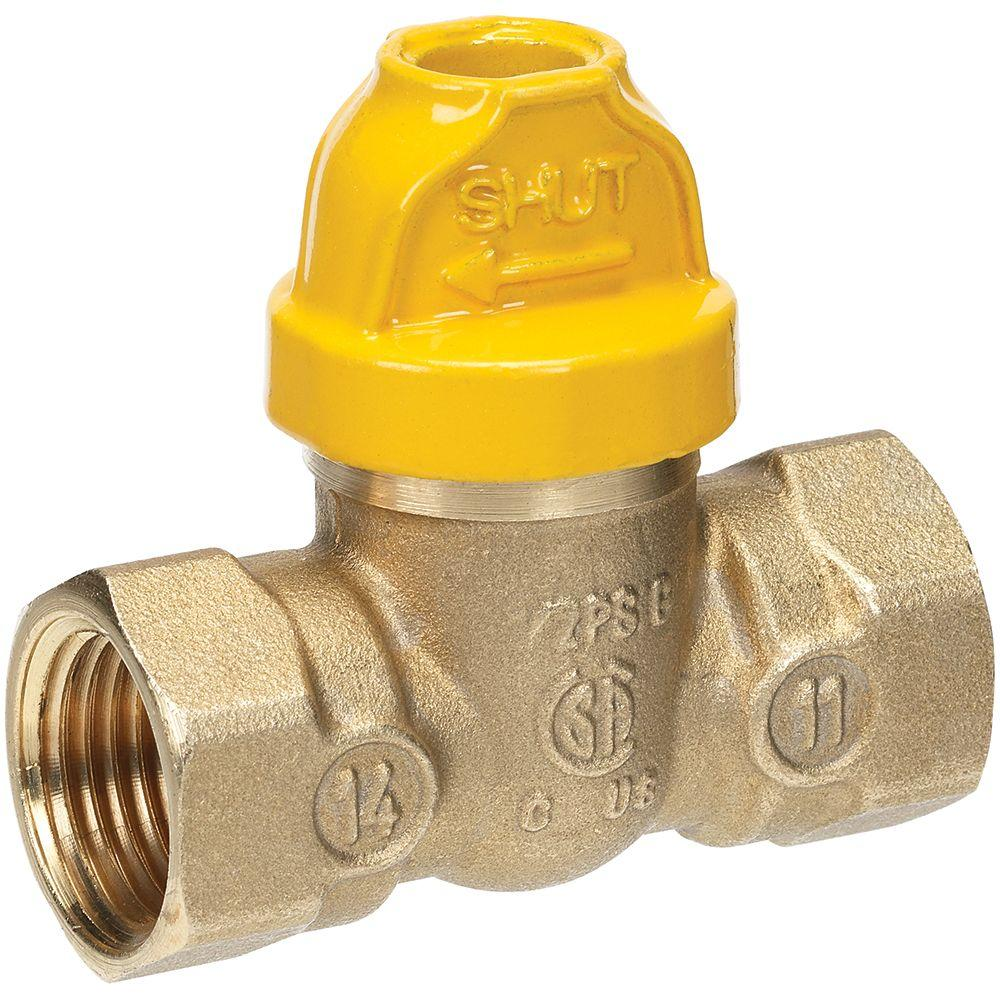 Everbilt 1/2 in. Brass FPT x FPT Safety Gas Ball Valve